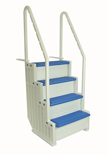 Confer Plastics Above Ground Swimming Pool Ladder | Heavy Duty | White Frame with Blue Steps | Deck...