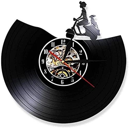 SSCLOCK Motto Biker Reloj de Pared con Disco de Vinilo Vintage Bicicleta Ciclista Reloj de Pared decoración de Motocicleta Scooter luz de Noche silenciosa Reloj Rider Regalo