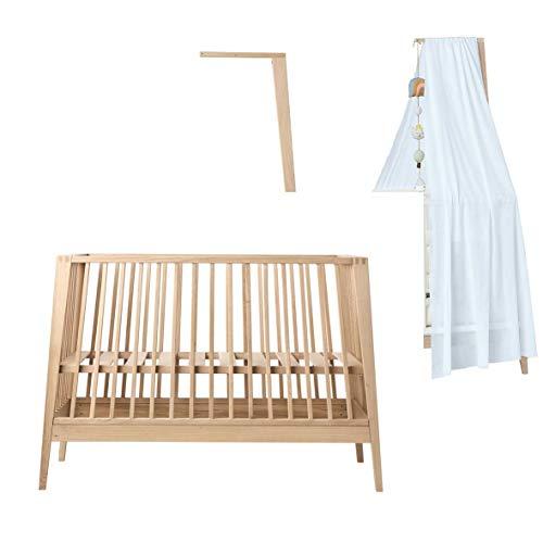 Linea - Cuna de madera de roble con dosel de roble y dosel (sin colchón)