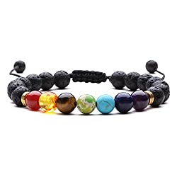 J.Fée Chakra Armband 8mm Perlenarmband Yoga Armband Armband aus Steinperlen Verstellbares Perlenarmband Damen Herren Edelstein Perlen Armband Energie Armband Valentinstag Liebhaber