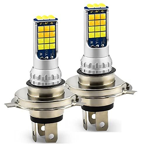 AIHOUSE H4 LED Bombilla Sin Ventilador con 2 Piezas De Kit De Conversión De Bombilla LED Super Brillante 30W 6000LUMEN 6000K Luz Fría A La Luz del Ámbar Reemplazo