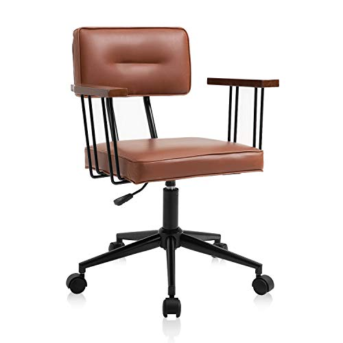 B2C2B Mid-Century Boho Brown Office Desk Chairs,Retro Design PU Leather Computer Chair with Wheels,Wooden Swivel Task Chair with Arms and Adjustable Height,for Cafe,Dining,Bedroom,Study,and Office