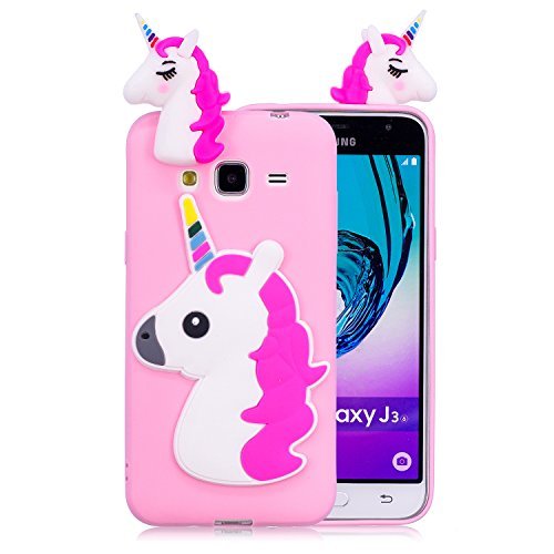 Funluna Funda Samsung Galaxy J3 2016, 3D Unicornio Silicona Dibujo Animado Suave Case Cover Protección Cáscara Soft Gel TPU Carcasa para Samsung Galaxy J3 2016, Rose