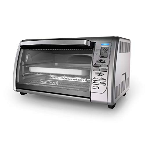 Black+Decker 02648008504 Countertop Convection Toaster Oven, Silver, CTO6335S