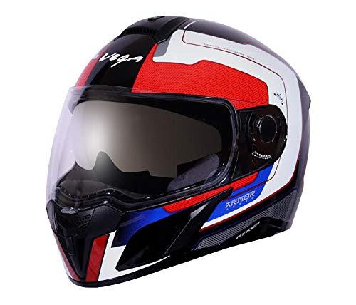 Vega Ryker D/V Armour Full Face Helmet (Black and Red, M)