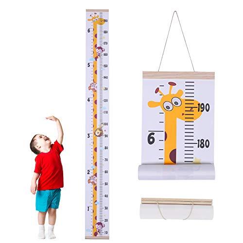 You&Lemon Messlatte Kinder, Meßlatte kinder Wachstumsmesser, Aufrollbare Aufhängen Messlatte Lineal Abnehmbar Leinwand Baby Messtabelle für Kinderzimmer Schlafzimmer Wanddekoration