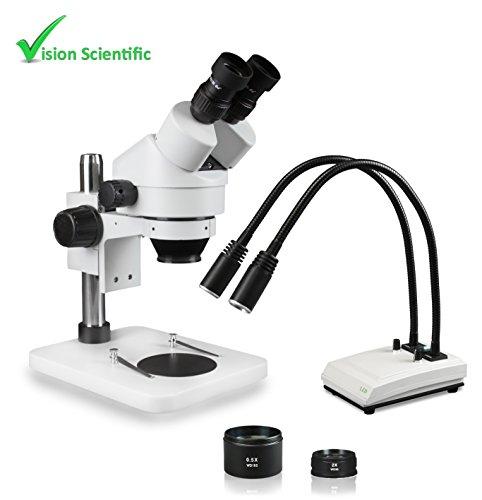 Vision Scientific VS-1EZ-IHL20 Binocular Zoom Stereo Microscope, 10x WF Eyepiece, 0.7X—4.5X Zoom, 3.5X—90x Magnification, 0.5X & 2X Aux Lens, Pillar Stand, LED Gooseneck Dual Light with Control