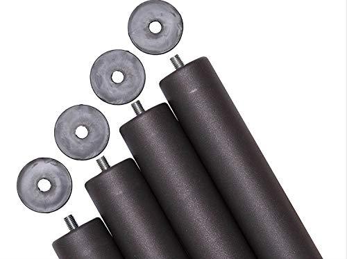 Pack 4 patas para somier o base tapizada cilíndricas, altura especial 30 cm