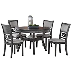 """Measures: 47""""L x 47""""W x 30. 25""""H Finished in a rich ebony color versatile with any Décor Reverse Diamond match veneer tops.Chair Weight Limit 250 lbs Shipping carton contains dining table and four chairs Available in two options of standard or counte..."""