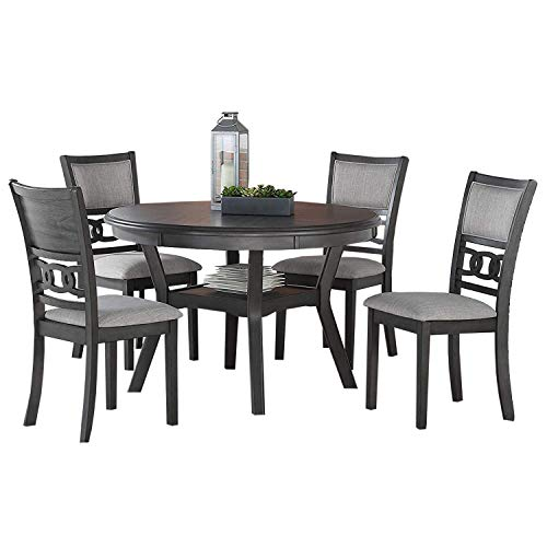 New Classic Furniture Gia 5-Piece Round Set with 1 Dining Table and 4 Chairs, 47-Inch, Gray