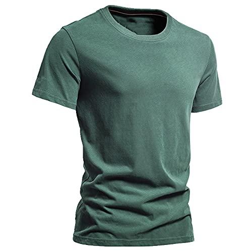 N\P Algodón de los hombres de color sólido casual manga corta hombres de verano, verde, XL