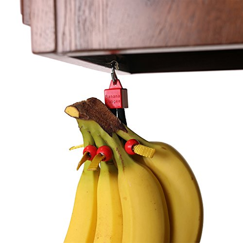 Red - Unique Banana Holder - Hook Alternative - Made in USA; Holds Single Banana; Under Cabinet or Shelf