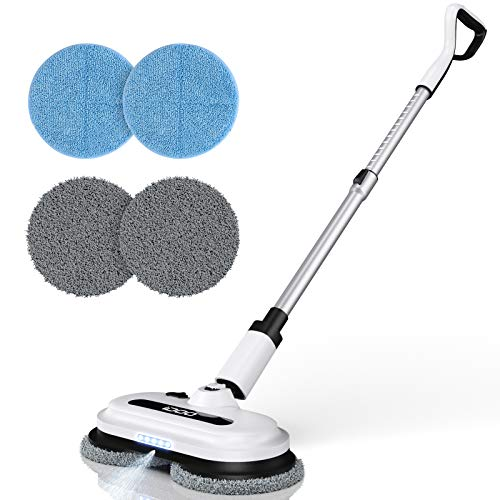 Cordless Electric Spin Mop, Floor Cleaner with Built-in 300ml Water Tank, Polisher for Hard Wood & Tile & Laminate & Marble Floors, Scrubber and Spray Mop with 4 Mop Pads, Detachable Battery, LED Headlight