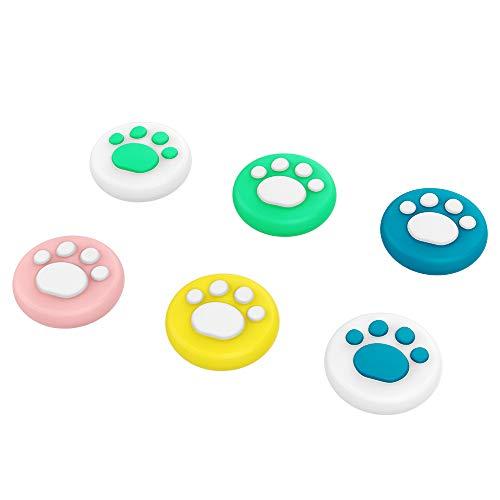 MoKo [6PZS Agarre para el Pulgar Compatibles con Nintendo Switch/Switch Lite, Tapa Analógica de Silicona Suave de Gato Bonito Cute Cat para el Controlador Joy-con - Multicolor