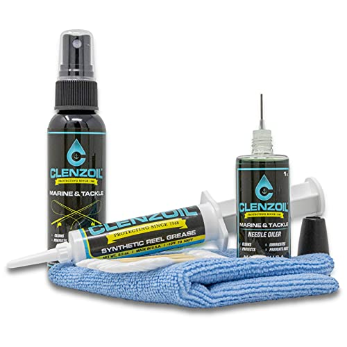 CLENZOIL Marine & Tackle Fishing Reel Oil, Bearing Oil Cleaner & Grease Kit | All-in-One Fishing Accessories Kit for Freshwater & Saltwater Fishing Reels | Cleaner - Lubricant - Rust Preventative