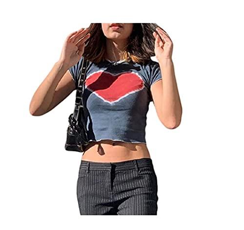 Camiseta casual Y2K de manga corta con estampado de corazón Kawaii para mujer, rosso, M