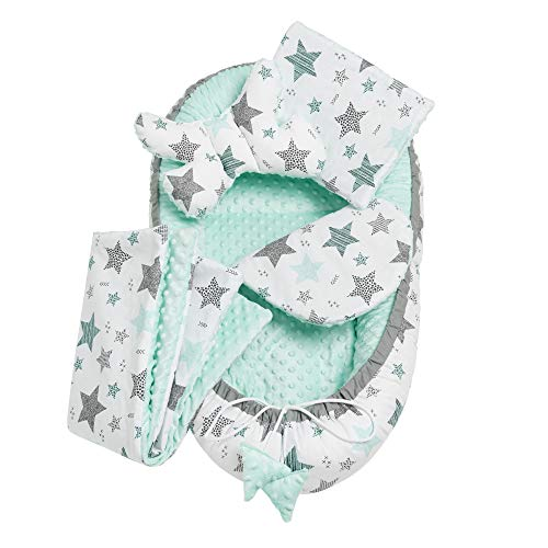 Solvera_Ltd 5tlg. Kuschelnest-Set MINKY inkl Babynest 90x50 herausnehmbarer Einsatz Flachkissen Krabbledecke Schmeterrling-Kissen für Babys 100% Baumwolle (Mint)
