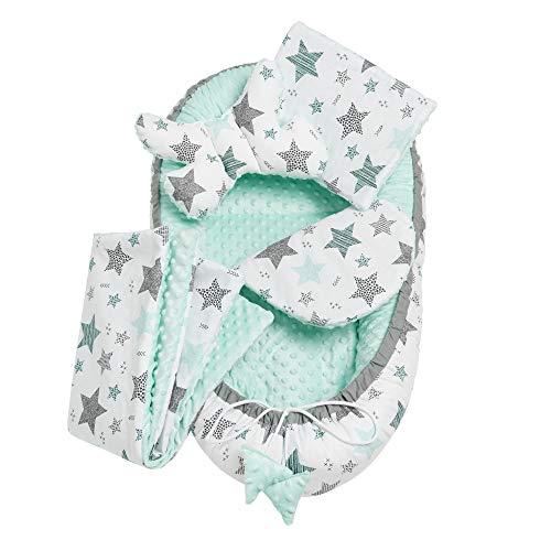 Solvera_Ltd Minky - Juego de cuna (5 piezas, incluye nido para bebé de 90 x 50 cm, forro extraíble, cojín plano, manta para gatear, cojín para bebé, 100% algodón), color verde