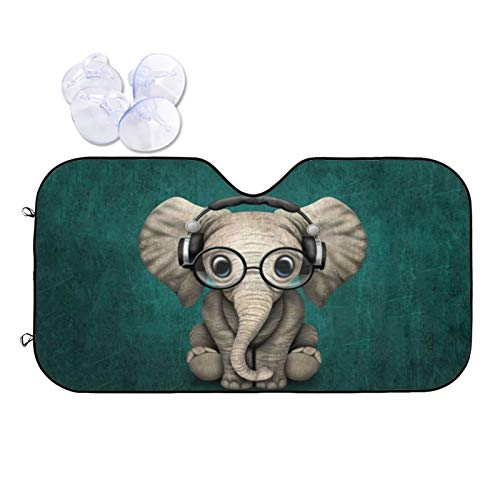 Cute Elephant Pattern Windshield Sun Shade for Car Auto Front Window Cover Foldable UV Rays Sun Visor Protector to Keeps Your Vehicle Cool
