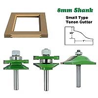 3 個 8 ミリメートルシャンクミラータイプほぞルータービット 45# 鋼キャビネットドアパネルカッター木工フライス工具