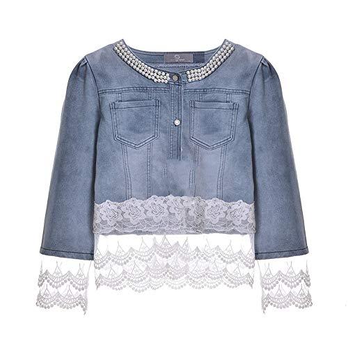 RTVCE Chaquetas Jeans Chaqueta Mujer Slim Lace Patchwork Abalorios Denim Lady Elegante Vintage Chaquetas Abrigo