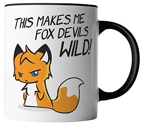 vanVerden Tasse - Denglisch - This makes me fox devils wild! - Das macht mich Fuchsteufelswild - Fuchs Tier Wald - beidseitig Bedruckt - Geschenk Idee Kaffeetassen, Tassenfarbe:Weiß/Schwarz