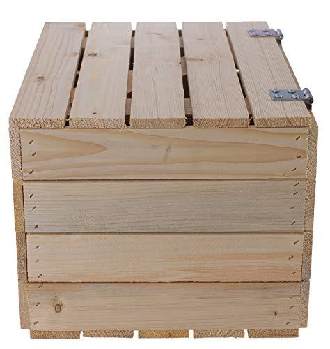 Kontorei 1-3 x Schlichte Holzkisten Natur mit praktischem Deckel, schön zur Aufbewahrung oder als Heimwerkertruhe, neu, 48x36x28cm (1) - 4