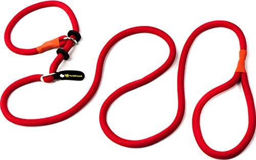 Hundefreund Retrieverleine mit Zugstopp | 200 cm Moxonleine: Hundeleine geflochten mit Halsband in einem | Rote Agility Trainingsleine für Hunde