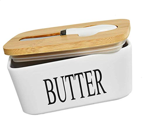 Ceramic Butter Dish with Natural Bamboo Lid and Knife, Large Airtight Porcelain Butter Keeper Container, for Fresh Spreadable Butter - Farmhouse Style Ceramic Butter (650 ML)