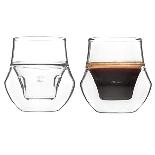 KRUVE PROPEL Espresso Glass, Hand Made, Double-wall, Clear, 2.5oz, Scientific Design (set of two)