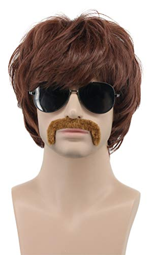 Karlery Men Short Straight Brown California 70s 80s Rocker Moustache Wig Halloween Costume Cosplay Anime Wig (2)