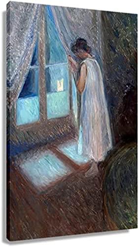 JRLDMD Laminas para Cuadros Edvard Munch Chica Mirando por la Ventana Pintura Poster Decoracion Cuadros Pared Arte impresión Lienzo impresión Arte de pared50x70cm x1 Sin Marco