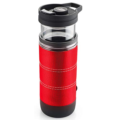 GSI Outdoors, Commuter JavaPress, French Press Coffee Mug, Superior Backcountry Cookware Since 1985, Red