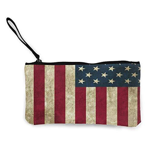 Bolsa de lona para monedas de viaje con diseño de bandera de Estados Unidos con asa de lona con cremallera bolsa de aseo portátil