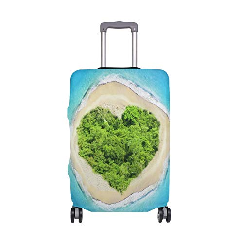 Travel Lage Cover Pacific Tropical Ocean Love Island Suitcase Protector Fits 26-28 Inch Washable Baggage Covers