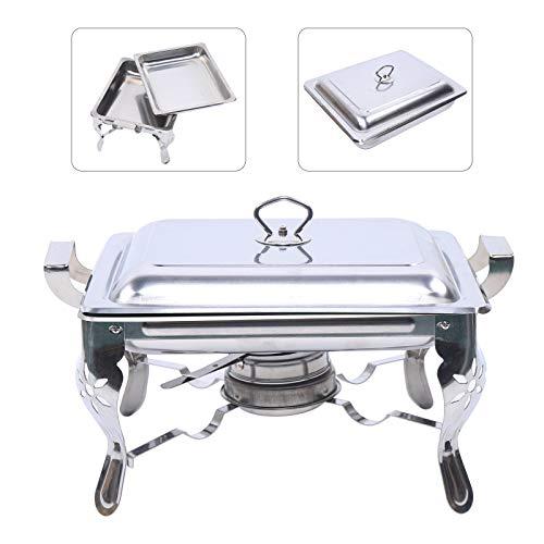 Calentador de alimentos de acero inoxidable, 6 L, recipiente para mantener el calor, horno cuadrado autoservicio 21 x 26 x 26 cm