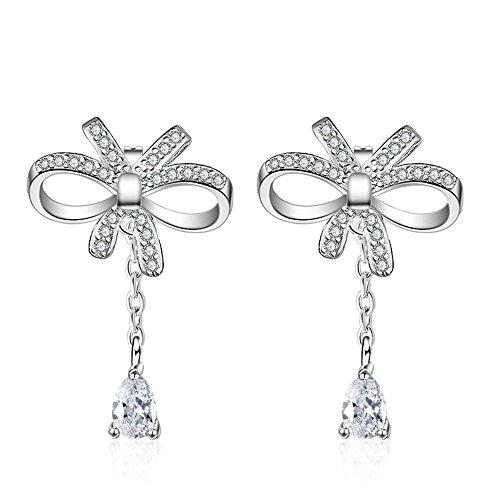 Onefeart Oro de Rose Plateado Pendientes Mariposa Arco para Mujeres Niña Blanco Circonita 28MM Plata
