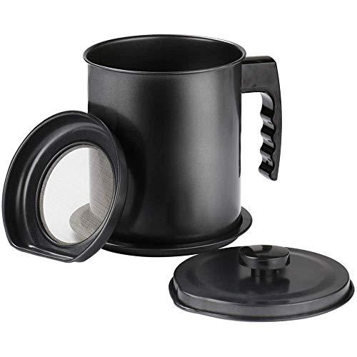 SODIAL Contenedor de Grasa Almacenamiento de Aceite de Tocino con Colador de Malla Fina - Lata de Cocina Negra de 1.3L para Aceite de Cocina Usado, Grasa, Aceite para FreíR