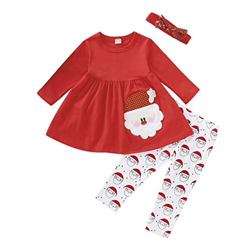 Infant Baby Christmas Outfit Baby Girls My First Christmas Outfits Shirt Tops+ Santa Claus Print Pants+Headband 3Pcs Clothes Set 6-9 Months