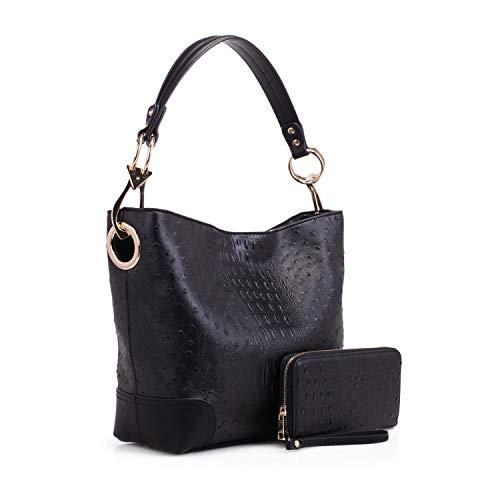 MKF Set Hobo Bag for Women & Wristlet Wallet – PU Leather Designer Handbag Purse – Shoulder Strap Lady Fashion, Black