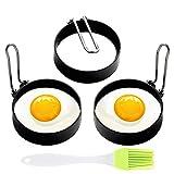 Egg Ring, 3 Pack Egg Pancake Maker Mold, Stainless Steel Non Stick Circle Shaper Egg Rings, Kitchen Cooking Tool for Frying Egg Mcmuffin, Sandwiches, Egg Maker Molds Set (3pcs)