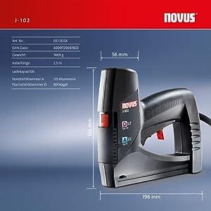 Novus Elektrotacker J-102, Unterlademechanik, Auslösesicherung, Klammernanzeige, zum Polstern & Befestigen von Folie