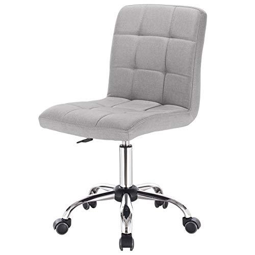 EUGAD 0011BGY Arbeitshocker auf Rollen Bürohocker Schreibtischstuhl Rollhocker 360° drehbar höhenverstellbar Stoffbezug Metall Hellgrau