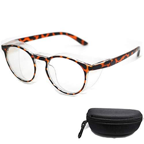 gafas de seguridad antivaho antiaranazos,Gafas protectoras luz azul para mujeres anti polen,transparentes redondas Marco de protección UV para hombres (leopardo)