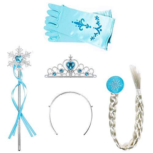 Amacoam Set 4 Stück Eiskönigin ELSA Zubehör Set Verkleidung Mädchen Prinzessin Krone Haarreifen Zopf Zauberstab Handschuhe Prinzessin Kostüme Zubehör Eisprinzessin Verkleidungsset (Hell Blau)