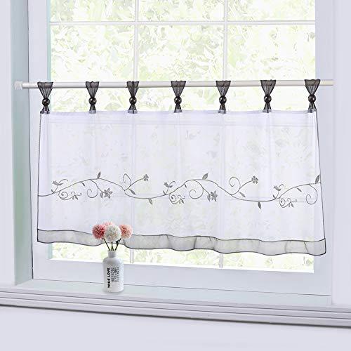 Cortina de ventana de cortina de café bordada LinTimes, ventana de cortina semitransparente Pestaña de tratamiento Ventana de cortina transparente superior, media cortina animal, gris, 45 * 90 cm