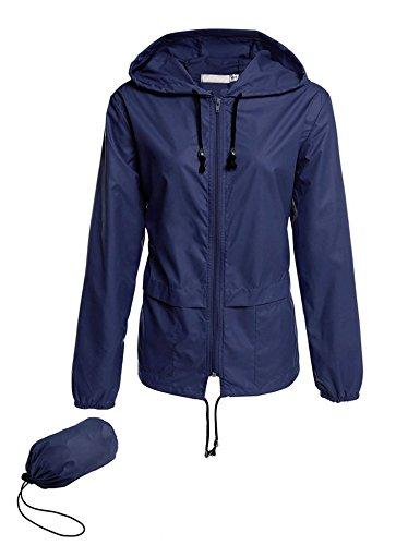 Avoogue Lightweight Raincoat Women's Waterproof Windbreaker Packable Outdoor Hooded Rain Jacket Navy Blue XXL