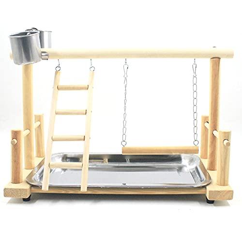 fuu バードアスレチック 【S】 小鳥 止まり木 遊び場 玩具 木製 ブランコ はしご トレイ付き
