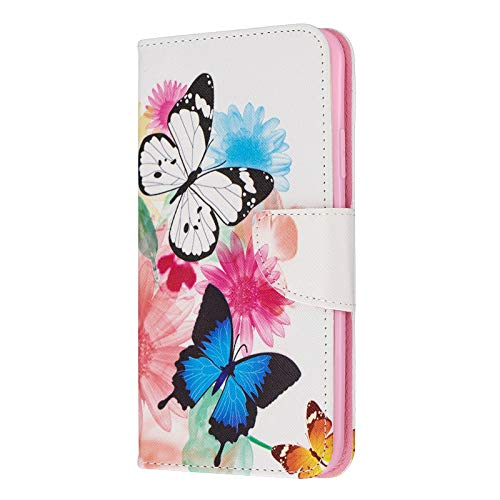 Fundas iPhone 11 Pro Tapa de Falsa Piel Mariposa, Fundas iPhone 11 Pro Libro Iman con Tarjetero, Funda Impreso para iPhone 11 Pro 5.8 Pulgada Antigolpes Mujer