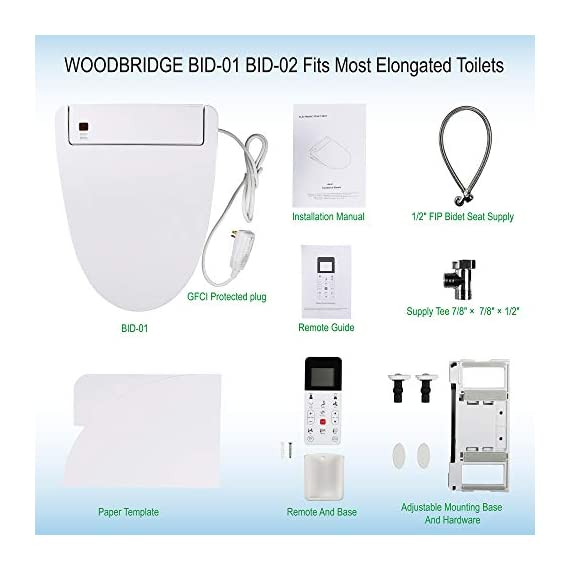 WOODBRIDGE BDI-01 Elongated Bidet Seat with Air Dryer and Stainless-Steel Nightlight | Nozzle Oscillation 9 <p>✅Include Woodbridge one-piece toilet and luxury bidet seat. Bidet seat fits the toilet perfectly ✅Modern design: sleek, low profile skirted elongated one-piece toilet, comfort height, water sense, high-efficiency ✅Hygiene: posterior wash, feminine wash, pulsating wash, adjustable water pressure, hygienic filtered water ✅Comfort: water heater, warm air dryer, unlimited warm water, heated seat (5 adjustable temperature), with oscillating and gentle massage pulse functions ✅Convenience: safety on/off sensor, self-cleaning nozzles with stainless steel material. Quick release seat for easy cleaning. Energy save mode design ✅ 2-year limited manufacture</p>